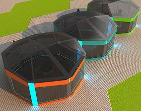 Small architectural pavilions 3D asset low-poly