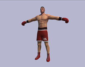 3D model low-poly Rigged Boxer