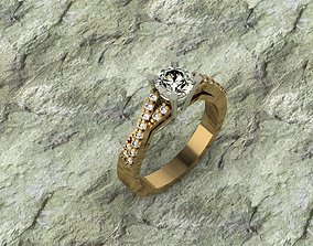 diamond solitaire ring diamond-ring 3D print model