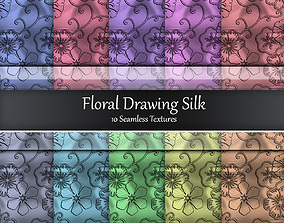 3D Floral Drawing Silk Seamless Textures Set