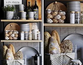 Kitchen decor set 3D model furniture