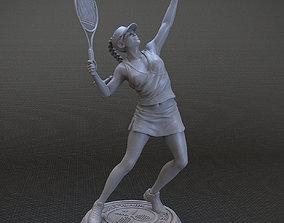 3D print model girl playing tennis