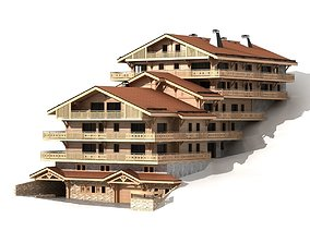Classic wooden mountain house chalet 3D model