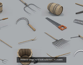 3D Medieval village hand tools collection