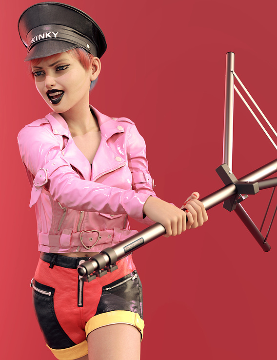 Kinky Pinky helps setting up the studio