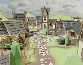 Elven Village pack 3D asset