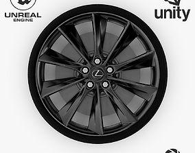 Wheel Steel-Chrome Dark Alloy Rim Lexus 19 inch 3D model 2