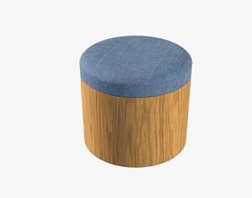 Ana Ottoman blue denim 3D model