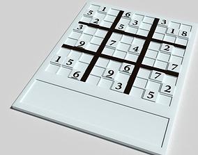 wooden sudoku play game 3D asset