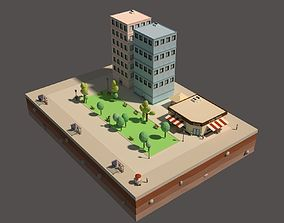 animated 3D Animated Low Poly City Blocks and Buildings
