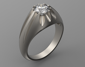 3D print model Vintage solitaire ring with diamond