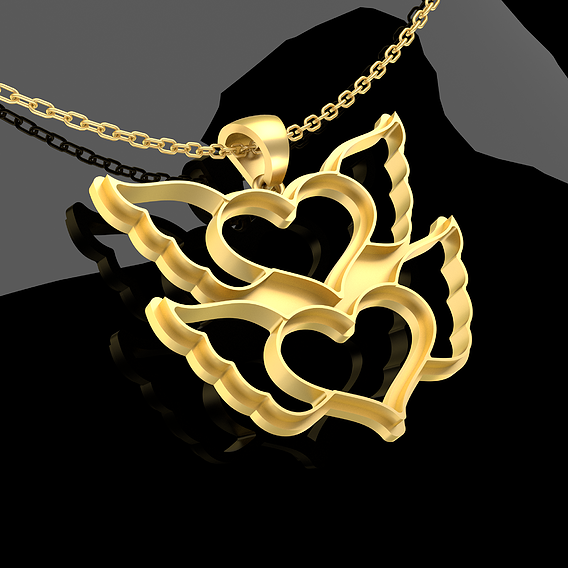 Two Bird Hearts Pendant Jewelry Gold 3D print model