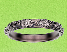 3D printable model Ring Oak Leave