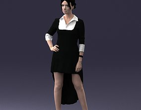 Fashionable girl in black dress 0219 3D model