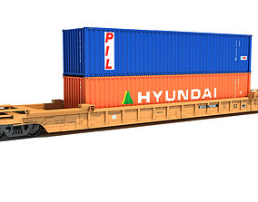 Double Stack Container Railcar 3D