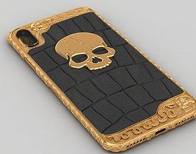3D print model Iphone X Skull Snake Case Gold Details