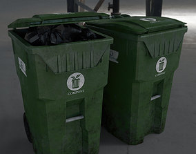 3D asset Trash Container With Tash Bag