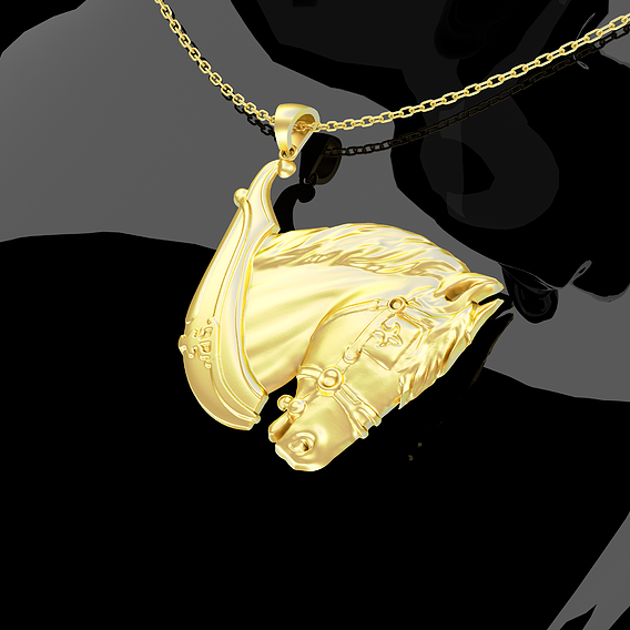 Horse Head-Relief Pendant Jewelry Gold 3D print model