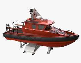 Ship Davit With Motorboat 3D model