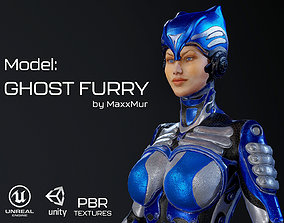 Low-poly model of the character Ghost Furry 3D asset