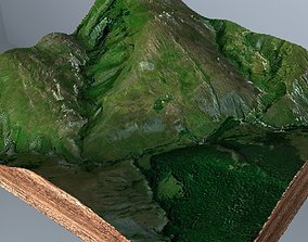 realtime Green terrain Landscape 3D model