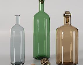 Wine Bottle and Whisky Bottle 3D