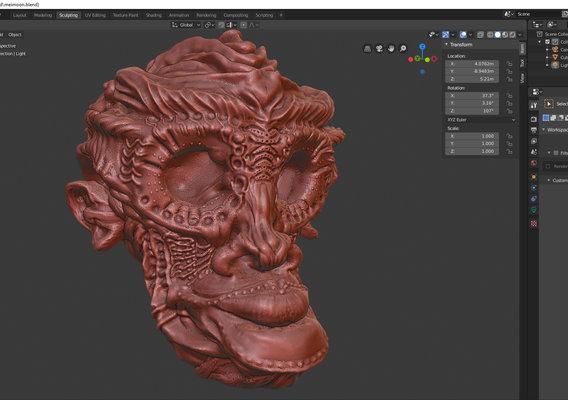 fantasy monkey head sculpting
