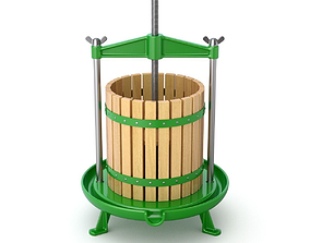 3D Traditional green fruit and wine press