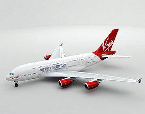 Airbus A380 Airliner - Virgin Atlantic 3D model