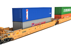 3D model Double Stack Cars with Containers