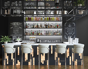 Large bar with alcoholic drinks 2 3D