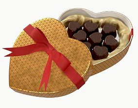 3D model heart shaped box with chocolate and ribbon tied 2