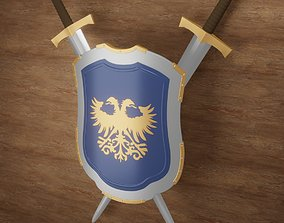 Medieval Shield with double headed eagle 3D model