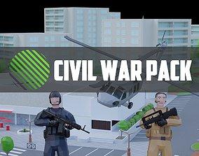 complete pack civil war low poly 3D asset