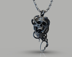 Skull entwined with snakes 3D model