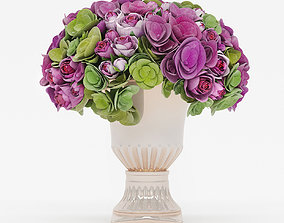 3D Bouquet of roses and hydrangea flowers