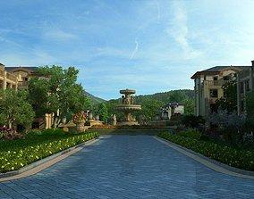 Residential community landscape 107 3D