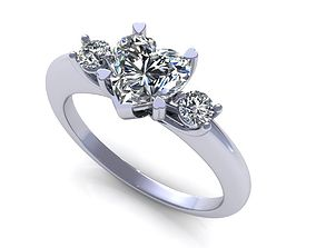 Heart Three Stone Diamond Ring 3D printable model