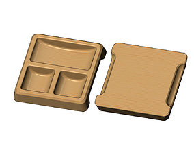 Square 3 pockets serving tray relief 3D print model