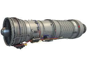 Pratt Whitney F100 Turbofan Engine 3D