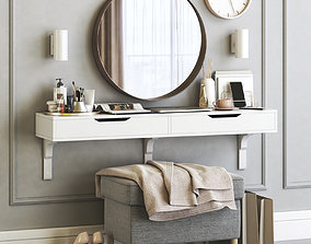 Ikea ALEX dressing table with STRANDMON ottoman 3D model