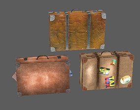 3D model Three suitcases leather lowpoly retro