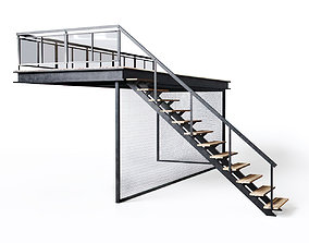 Metal stair with fencing 3D model