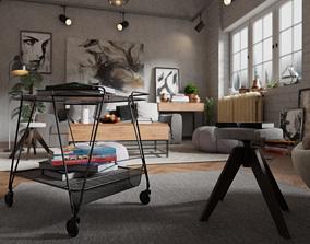 3D chair Living Room Interior scene