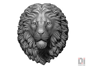 Angry Lion animal head round 3D print model