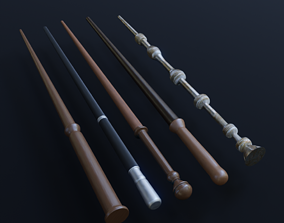5 Low Poly Harry Potter Wands Pack 3D model