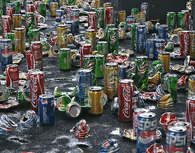 Cans Garbage 24 Types - 3D Asset Kit game-ready