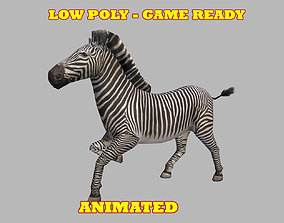 3D model Low poly Zebra Animated - Game Ready