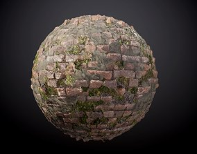 Brick Wall Vines Sloppy Concrete Seamless PBR Texture 3D