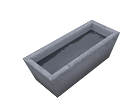 Medieval water trough 3D model realtime